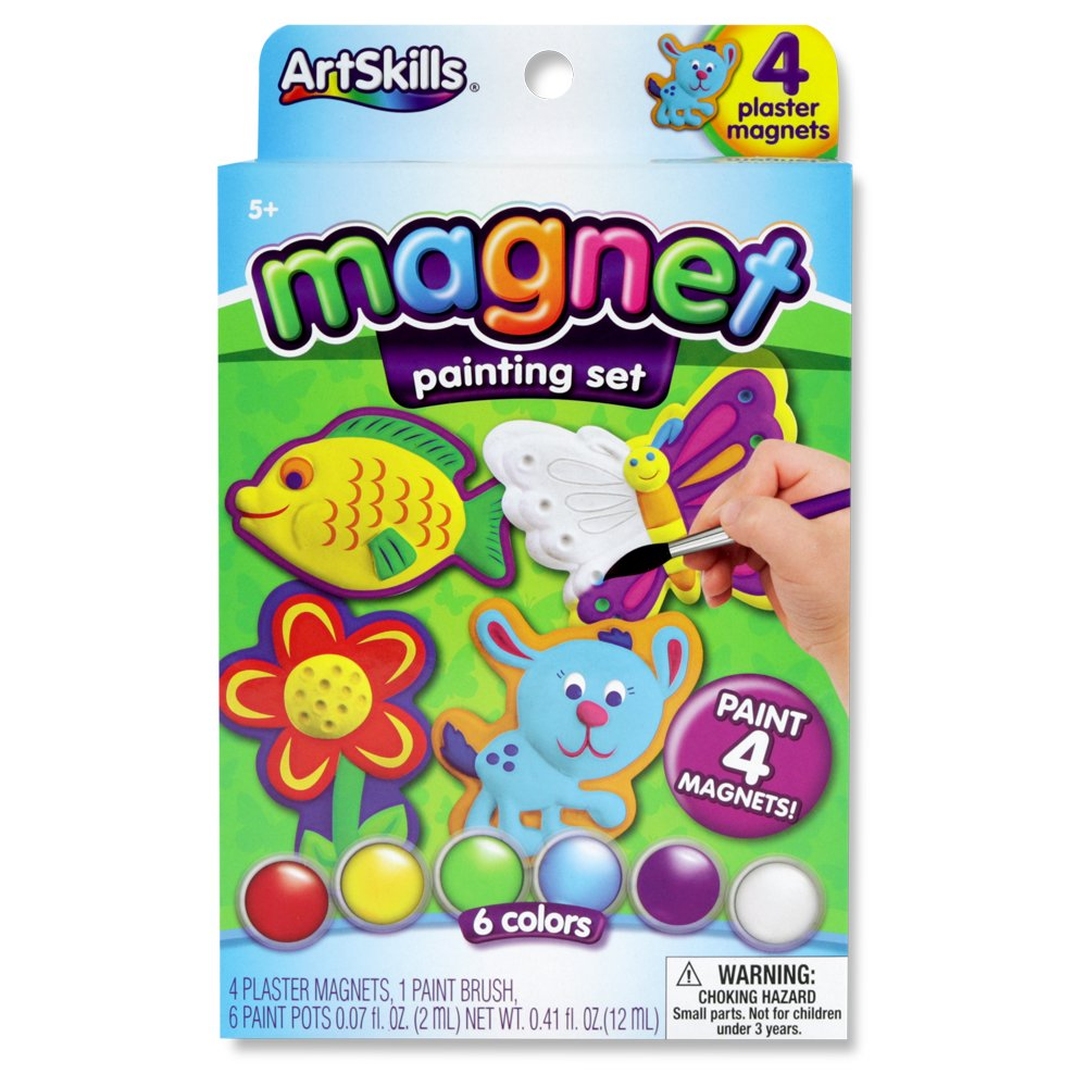 ArtSkills Paint Your Own Magnets, Arts and Crafts Supplies, Paint Brush, Paint Pots, with Included Designs, 4 Count
