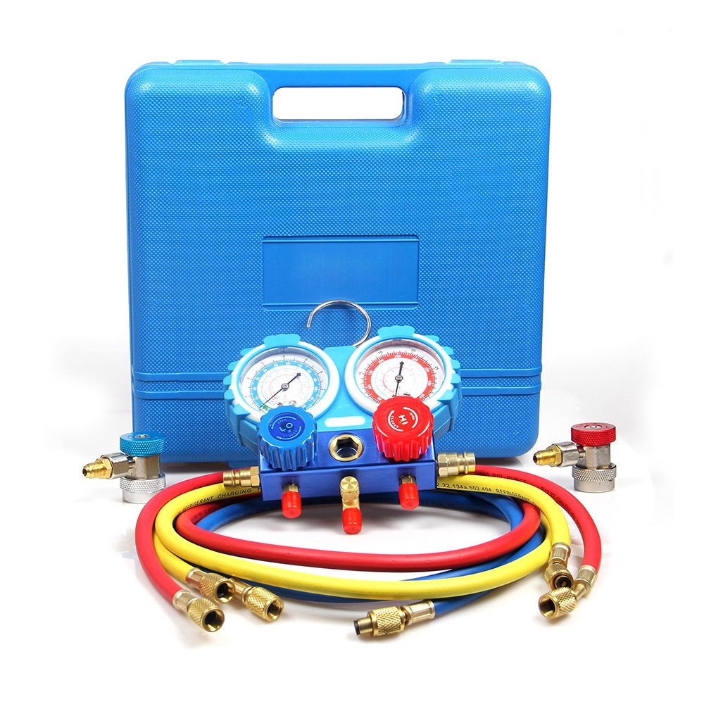 Goetland Brass Diagnostic Manifold Gauge Kit Charging Hoses Coupler Adapters for AC Refrigerant R134a R404A R22 R12 HVAC 5 feet Blue Case