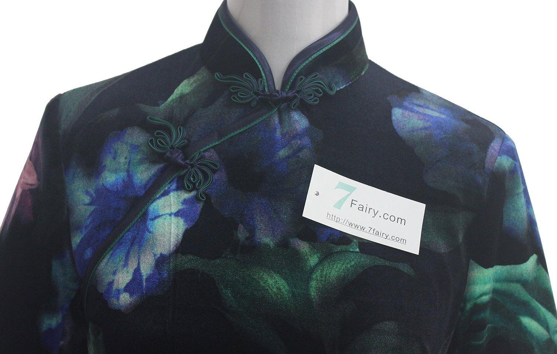 7Fairy Women Black Peony Hourglass Chinese Long Quality Velvet Dress