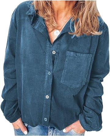 Camisa De Pana con Botones De Manga Larga Informal para Mujer: Amazon.es: Ropa y accesorios