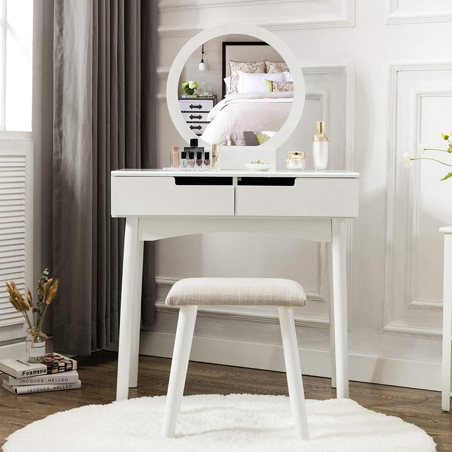 . HONBAY Vanity Table Set with Round Mirror 2 Large Sliding Drawers Makeup  Dressing Table with Cushioned Stool  White