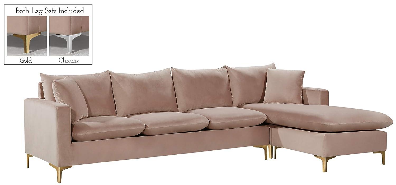 Amazon.com: Meridian Furniture 636Pink-Sectional Naomi ...