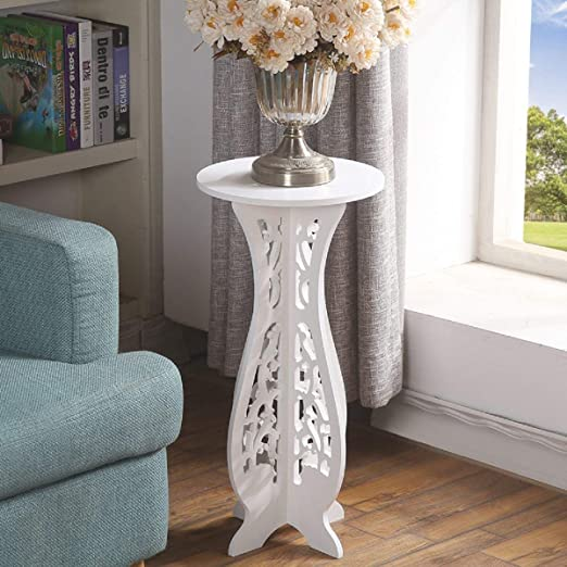 Hollylife - Mesa baja redonda blanca de madera para salón, mesa ...