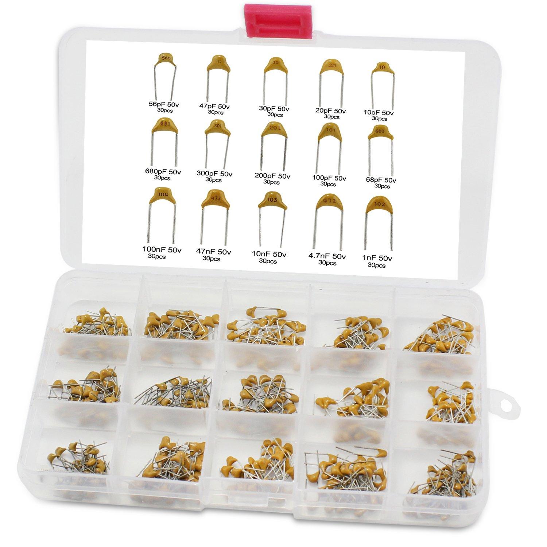 OCR 15Value 450pcs Ceramic Capacitor Assortment Box Kit Range 10pF-100nF(Electrolytic Capacitor --450pcs)