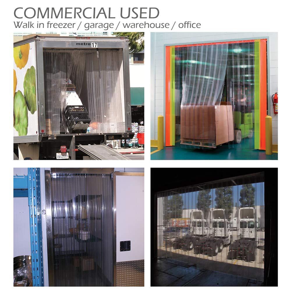 Cortina de plástico para puerta – transparente con protección contra arañazos acanalado de PVC, rollo a granel, puerta industrial comercial para taller, garaje, casa de mascotas, almacén (132 pulgadas de largo x