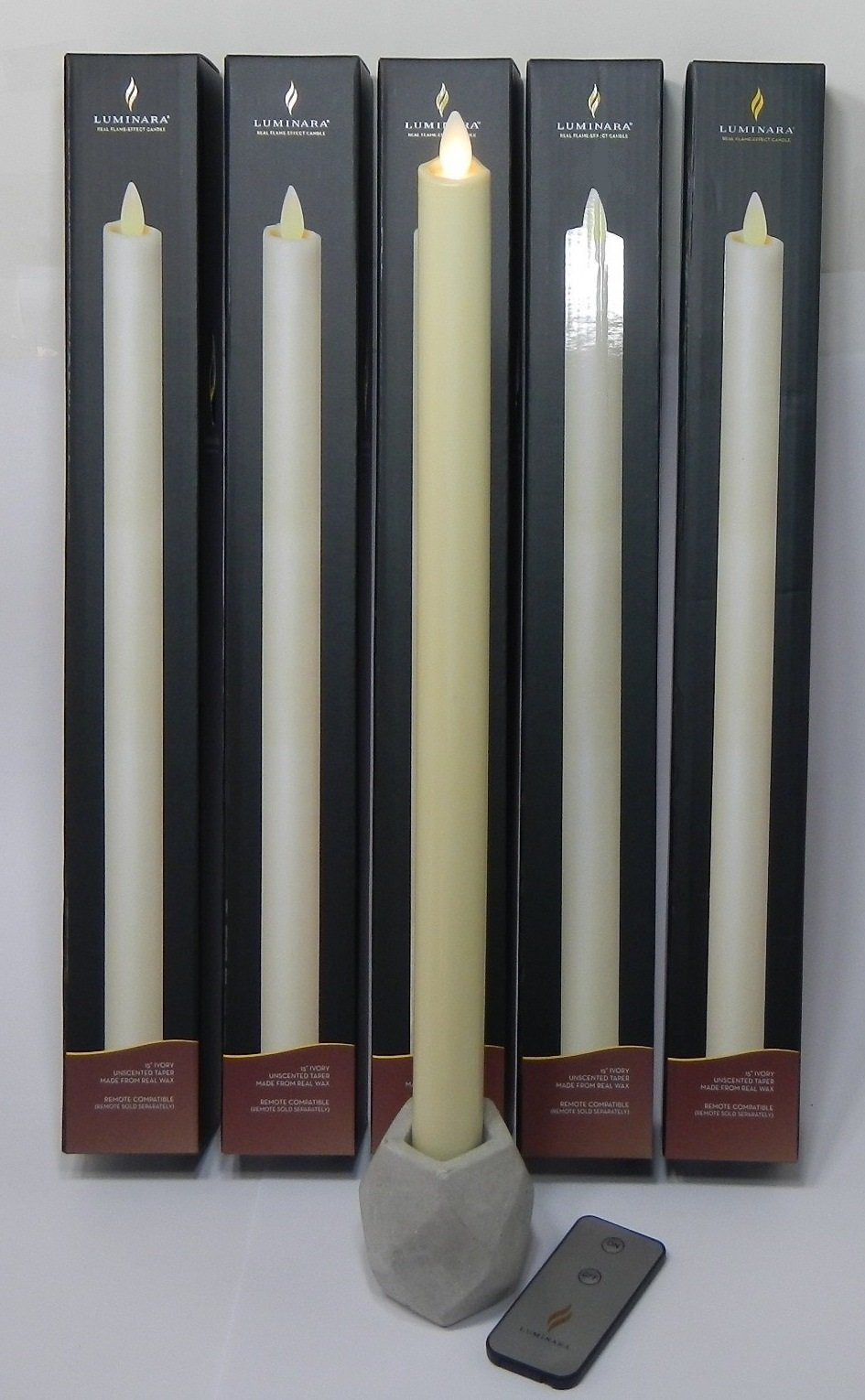 Luminara Flameless Candle IVORY TAPER 15'' In. Tall Real Wax | 5 PIECE SET with BONUS REMOTE CONTROL | Real Flame Effect |