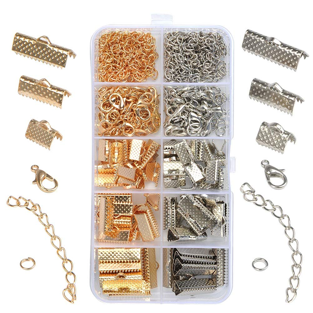 WOWOSS 370 Pcs Jewelry Finding Kit with Iron Ribbon Ends, Lobster Clasps, Open Jump Rings and Extender Chain for Jewelry Making