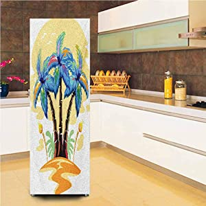 "3D Door Fridge DIY Stickers,Colorful Cartoon Tropical Island with Hawaiian Palm Trees Torch Seagulls Sunset Vinyl Door Cover Refrigerator Stickers,24x59"",for Refrigerator,Blue Orange"