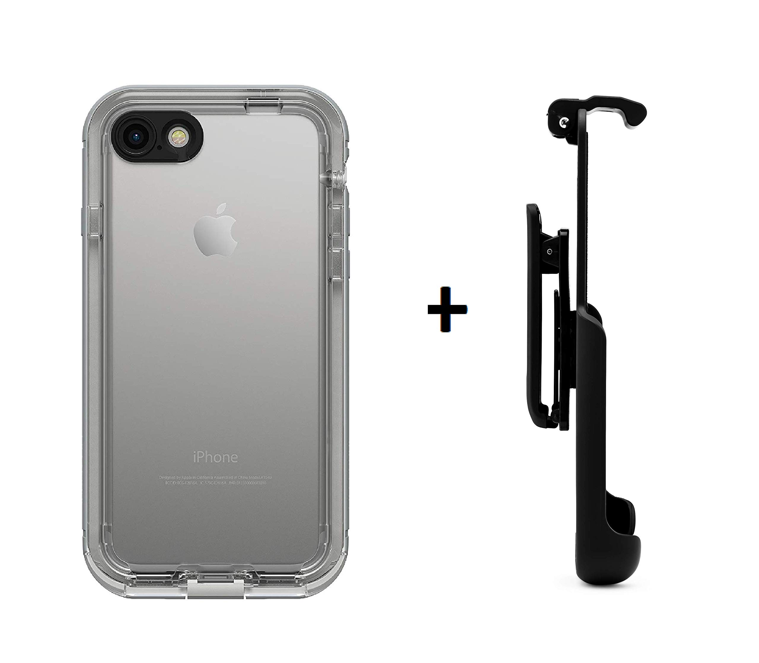 LifeProof NÜÜD Series Waterproof Case for iPhone 7 (ONLY) - SNOWCAPPED (Bright White/Sleet) + Belt Clip Holster