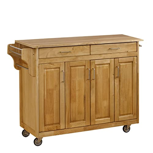 Home Styles Mobile Create-a-Cart Natural Finish Four Door Cabinet Kitchen Cart with Cherry Wood Top, Adjustable Shelving