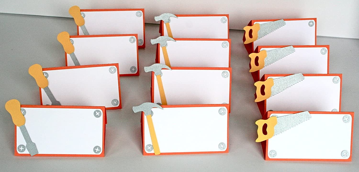 12 piece Construction Themed Place cards