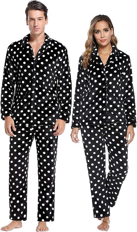 Abollria Pijamas Traje De Invierno Franela para Hombre Mujer ...