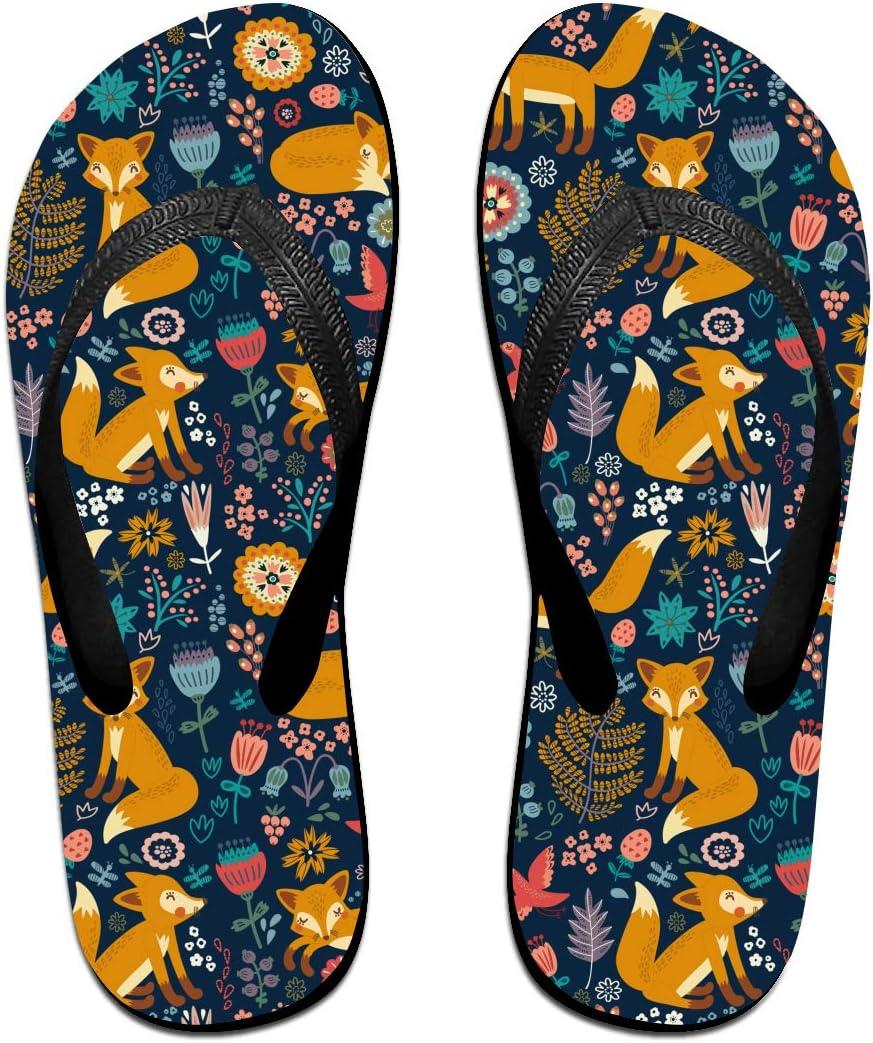 GQOP Unisex Flip Flops Fox Floral Pattern Personalized Thong Sandals Beach Sandals