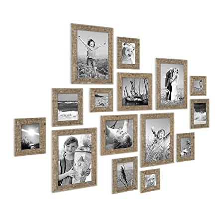 Photolini Set of 15 Picture Frames, Beach-House Style, Rustic, Oak ...
