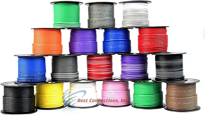 18 GA 100/' Feet Audiopipe Car Audio Home Remote Primary Cable Wire LED 6 Rolls