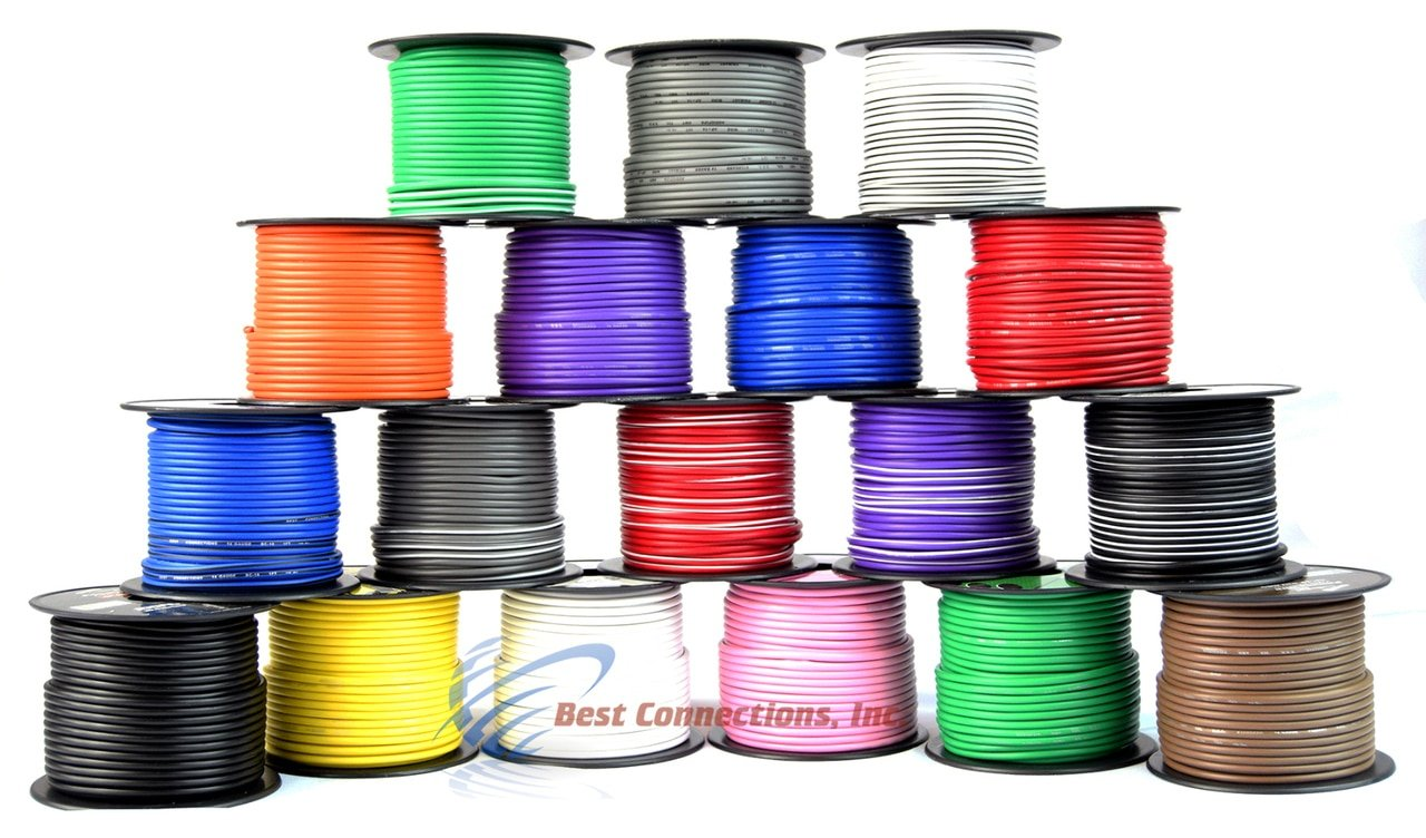 Audiopipe 14 Gauge Primary Remote Wire Solid & Stripe Single Conductor 12 Rolls 100' FT EA