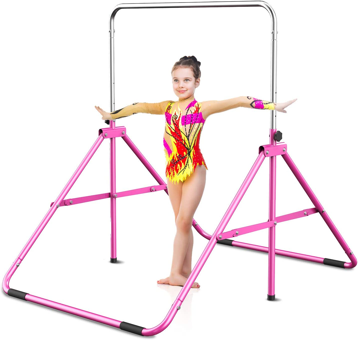 Gymbarpro Gymnastics Bars for Kids, Adjustable Horizontal Bar, Junior Training Bars Folding Monkey Bars for Beginner Practicing Home Kids Gymnastics Equipment for Home