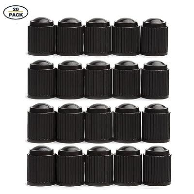 GODESON 20 Pack Black Plastic Tire Valve Stem Caps: Automotive