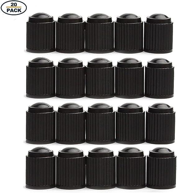 GODESON 20 Pack Black Plastic Tire Valve Stem Caps