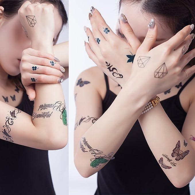 Yeeech - 6 hojas de diseño de trébol de diamantes, tatuajes ...