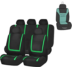 FH Group FB032115 Unique Flat Cloth Seat Covers (Green) Full Set with Gift - Universal Fit for Cars Trucks and SUVs