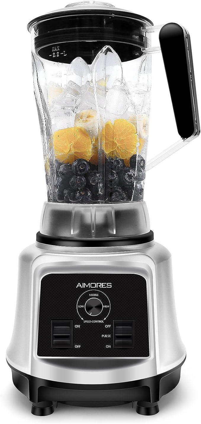 Aimores Commercial Blender for Smoothie, Ice, Juicer, Food, Fruit, Milkshake and Pastry, Heavy Duty Kitchen Blender, 75oz Pitcher, 6 Sharp Blades,