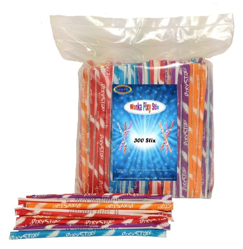 Wonka Pixy Stix, 300 Stix , Assorted Flavors by Medley Hills Farm