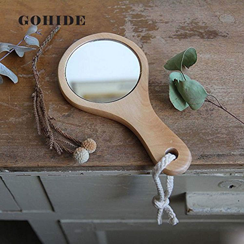 GOHIDE 1pc Creative Wooden Makeup Mirror Round Side Handheld Mirror 14×7.5cm