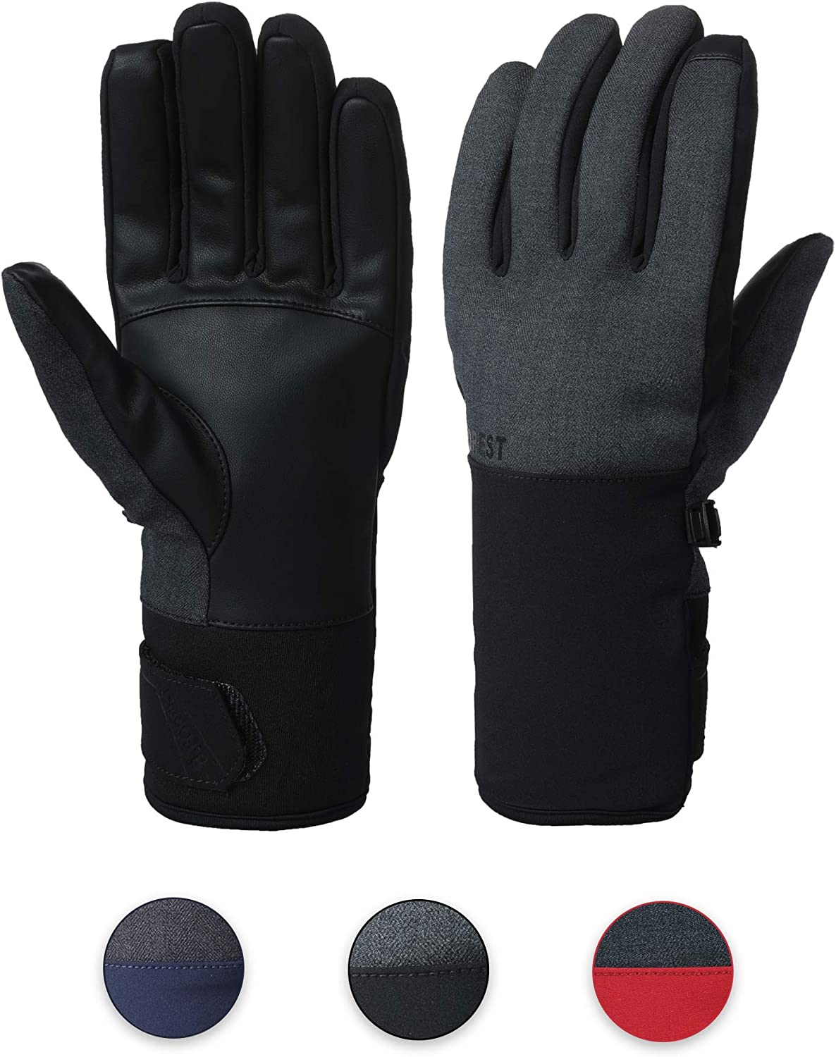 B-FOREST Winter Gloves for Men Women, Touchscreen Thermal Gloves Water Resistant & Windproof in Cold Weather