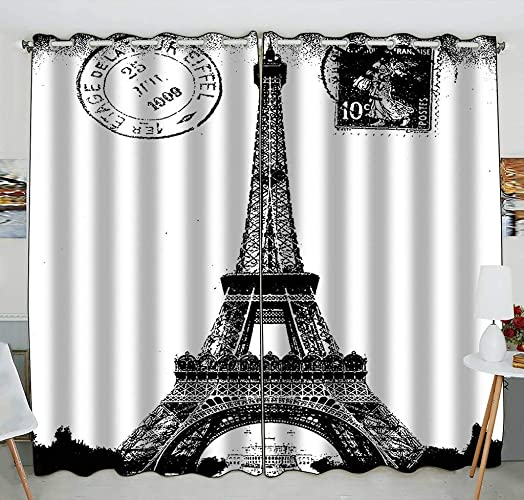 Custom Frech Paris Eiffel Tower City of Love Black White Blackout Curtains Window Treatment Panel Drapes 52 W x 84 H inches Two Piece