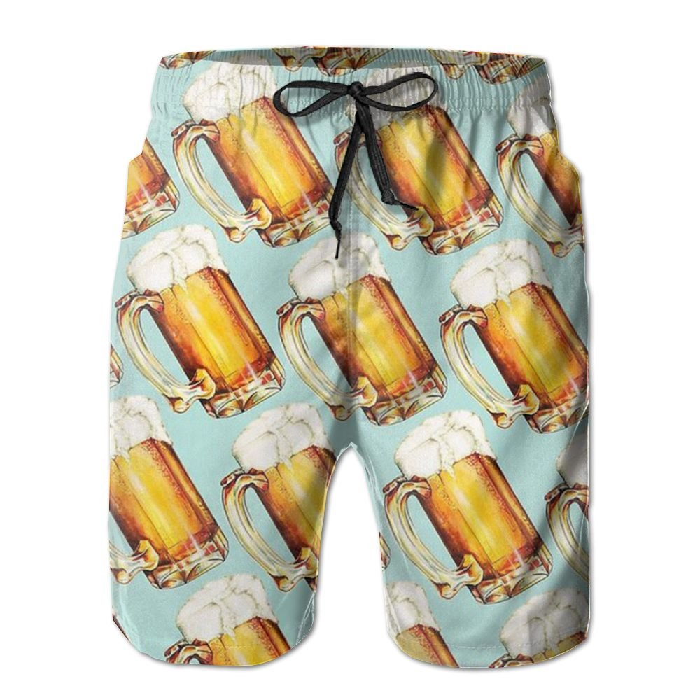 IOPVDJ Men's Beer Summer Holiday Quick-Drying Swim Trunks Beach Shorts Board Shorts