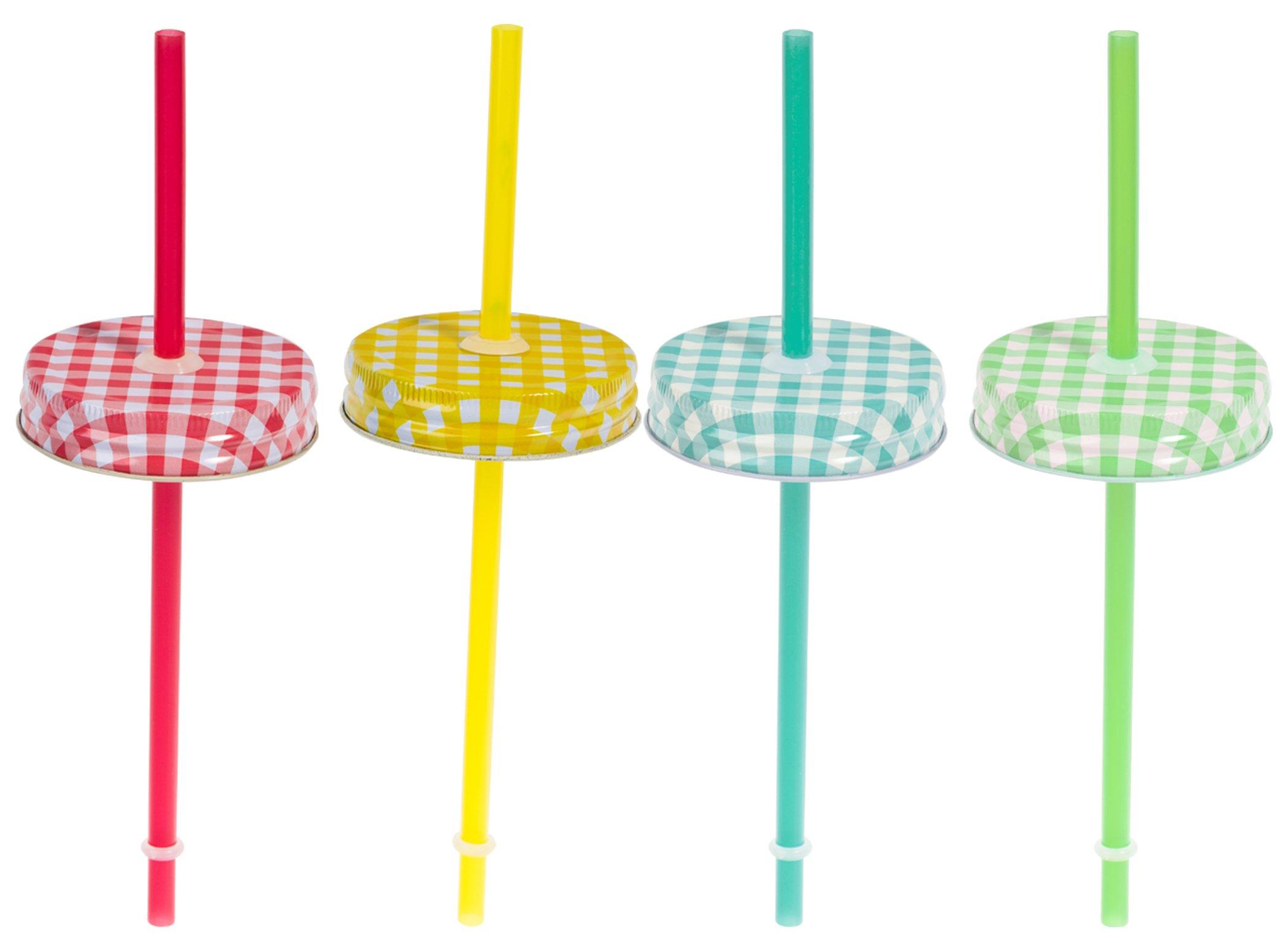 Set of Four (4) Regular Mouth Mason Jar Straw Lids with Straws (Gingham)