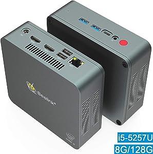 Mini PC, Beelink U57 Intel Core i5-5257U Processor (up to 3.10GHz) Windows 10 Pro Mini Desktop Computer, 8GB DDR3L/128GB M.2 SSD, Supports Extended HDD & SSD 2.5″/4K HD/Dual HDMI/Dual WiFi /BT4.0