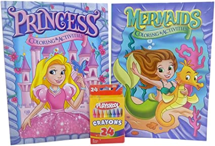 coloring books for kids with crayons one mermaid and one princess coloring and activity book for girls 96 pages assorted designs with 24 piece