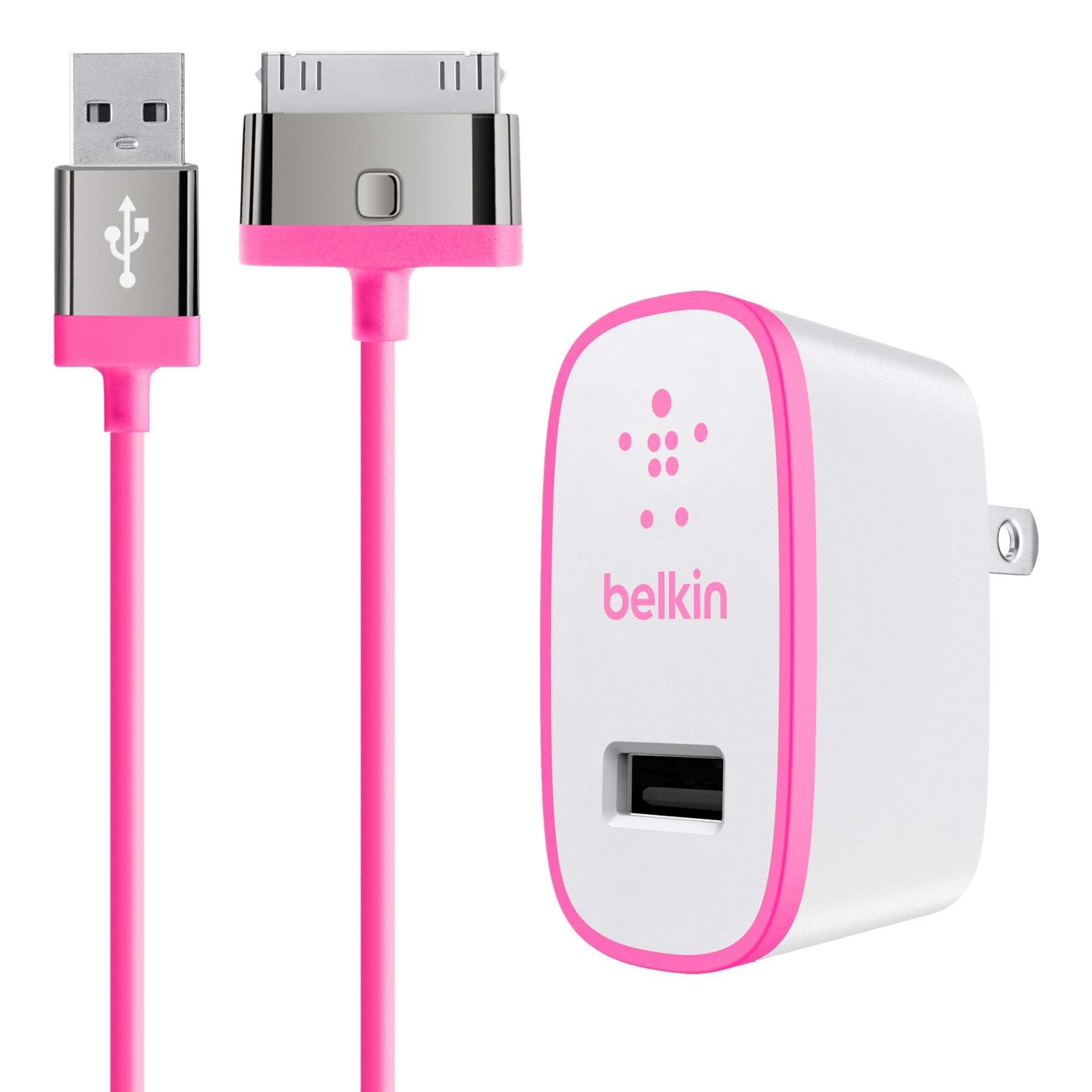 Belkin MIXIT Home Charger with 4-Foot 30-Pin Cable for iPhone 4/4S, iPad 3rd Gen and iPad 2 (2.1 AMP/10 Watt), Pink