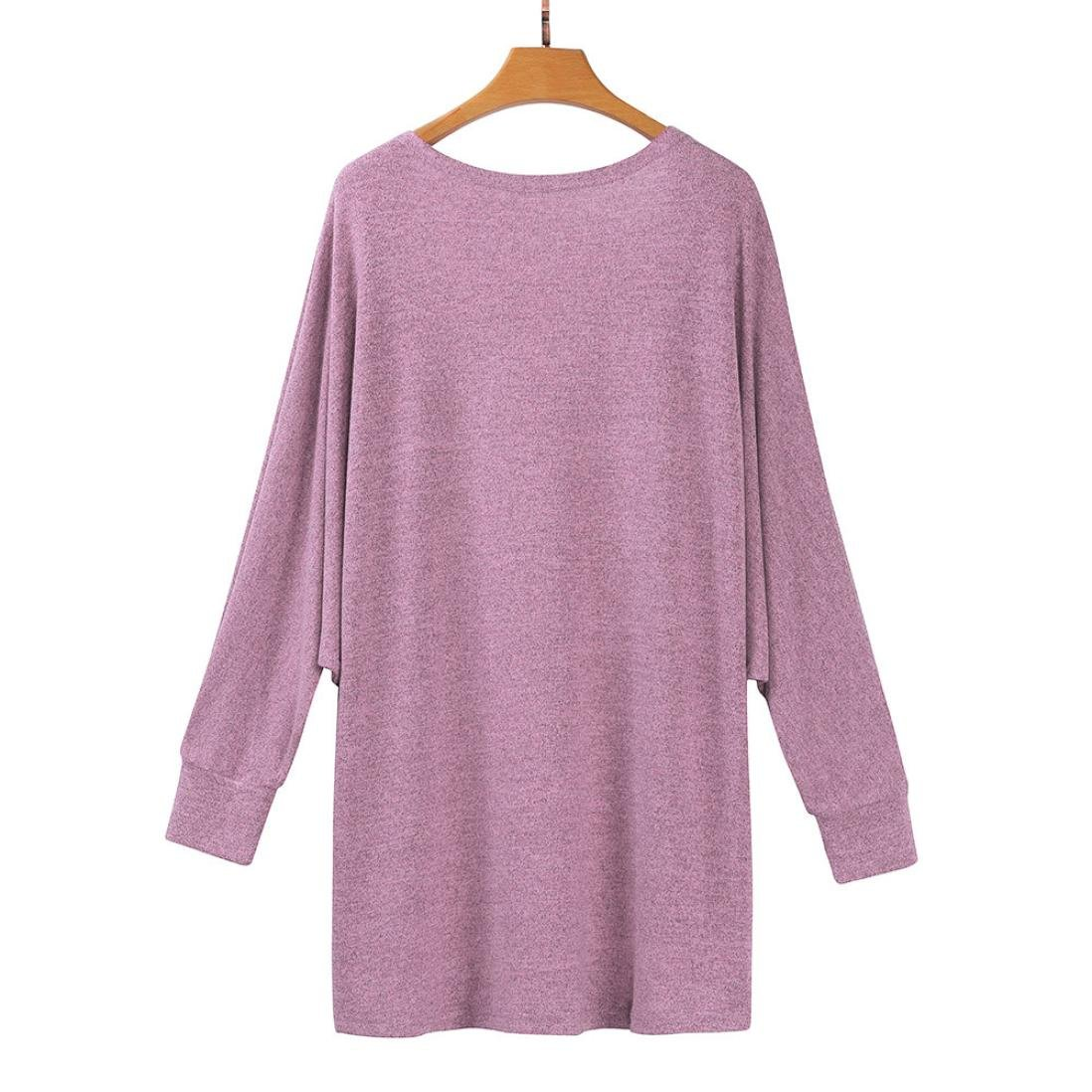 Hot Sale!Women's Cardigans Neartime Womens Kintted Cardigan Asymmetric Sweater Hem Long Sleeve Coat Tops (L, Pink) by NEARTIME (Image #3)