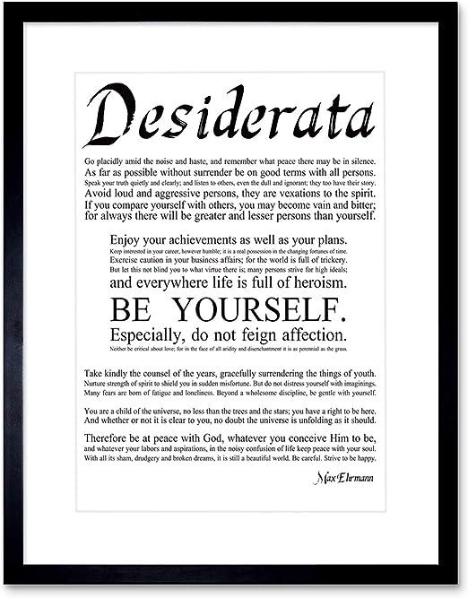 Desiderata Rainbow parole Ehrmann Tipografia 12X16 pollici Framed Art Print