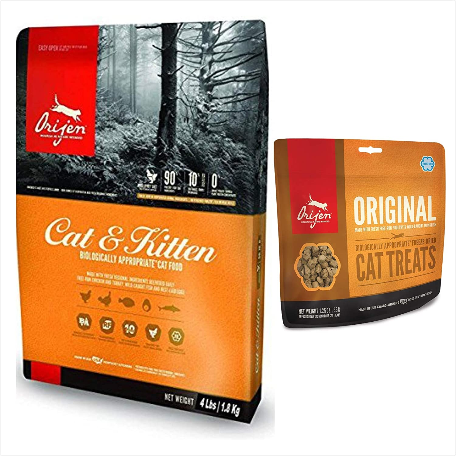Orijen Cat and Kitten Food 4 Pound Bag. Biologically Appropriate Cat Food and 1 Original Cat Treat 1.25 Ounce