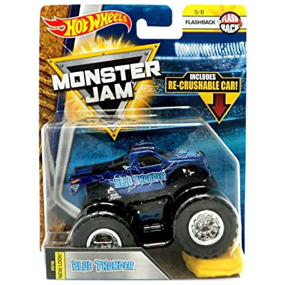 Hot Wheels Monster JAM 1:64 Scale Flashback 5/6, Dark Blue Blue Thunder Includes RE-Crushable CAR: Toys & Games