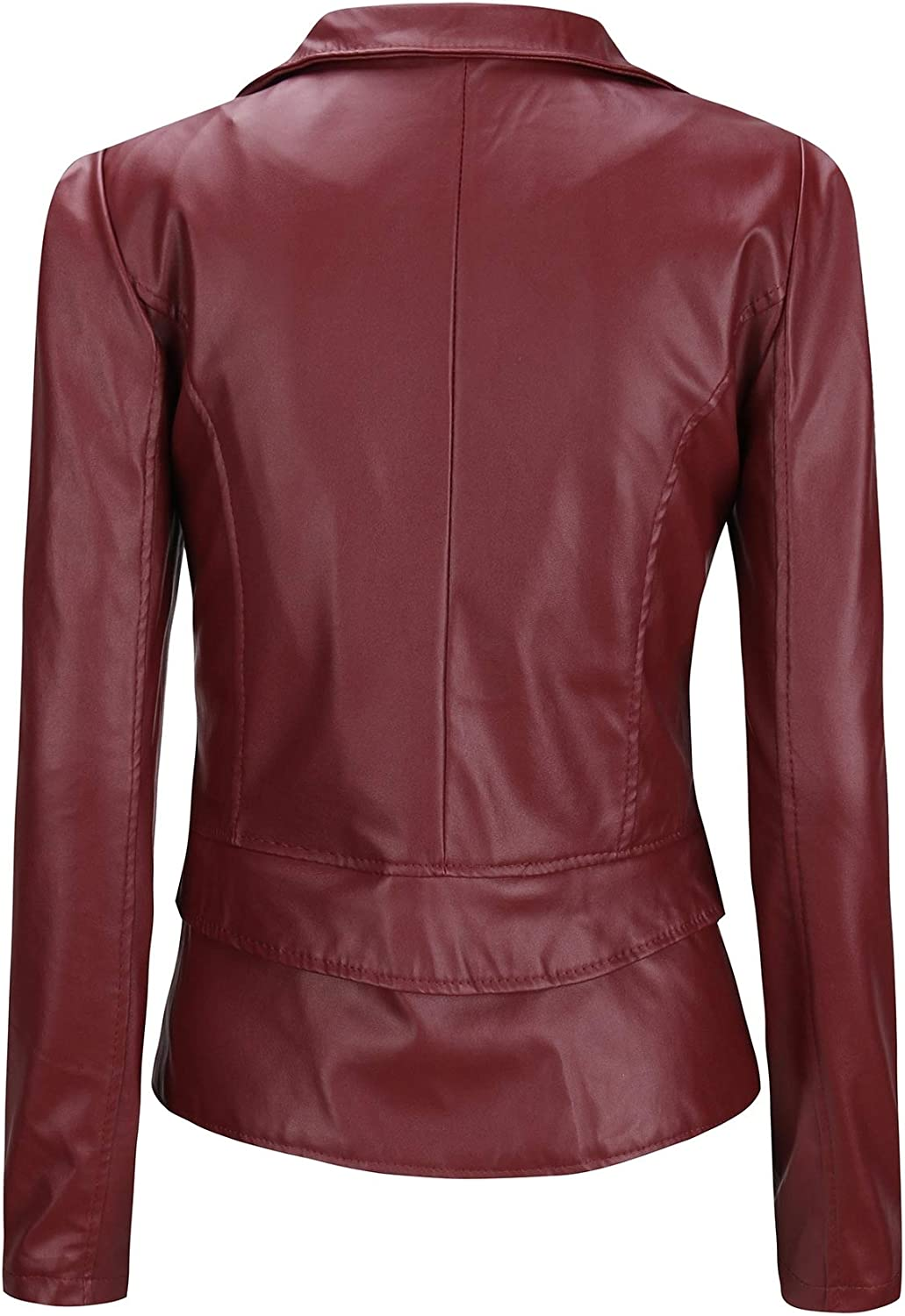 Coolred-Women Full-Zip PU Faux Leather Motorcycle Two Way Wear Jacket Coat Wine Red XS