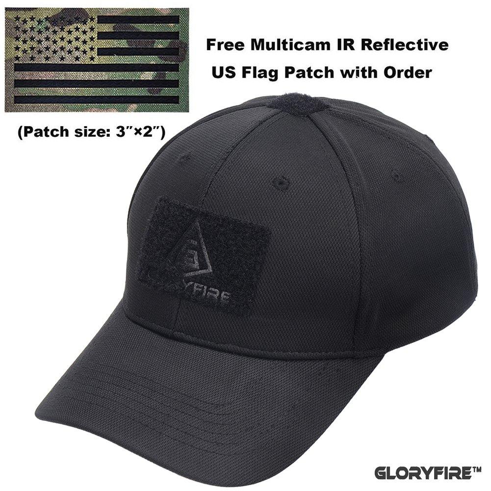 b1c30f35f3d3b GLORYFIRE Tactical Cap Flex Adjustable Hat Flexible Baseball Cap 2 Hook and  Loop Panels for Patches