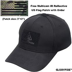 GLORYFIRE Tactical Cap Flex Adjustable Hat Flexible Baseball Cap 2 Hook and  Loop Panels for Patches af306cdfb146