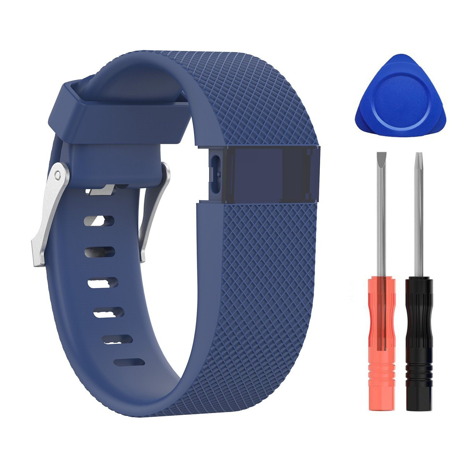 Fitbit Charge HR Bands,Sepcial Colorful Edition Soft Silicone Adjustable Replacement Wristband with Metal Buckle Clasp for Fitbit Charge HR Bands (Dark blue, Large)