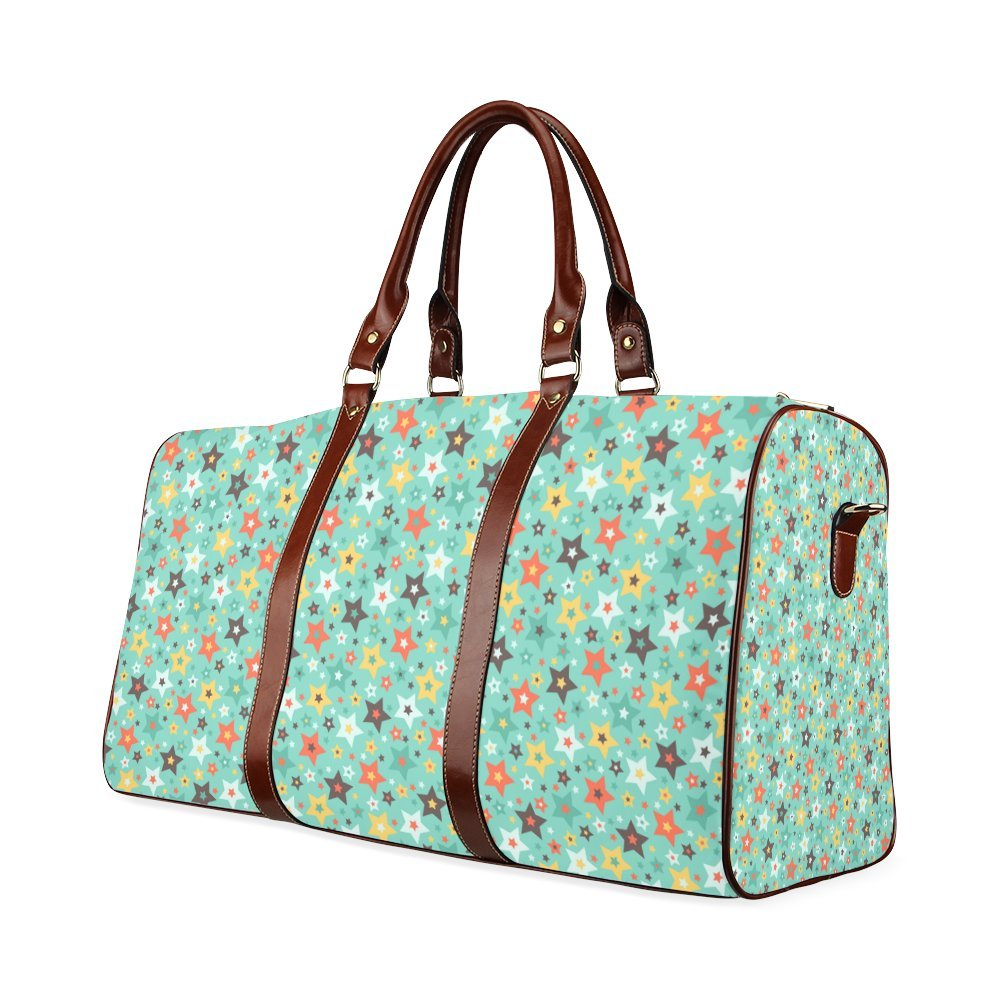 Stars Retro Pattern Mint Green Brown Orange Custom Waterproof Travel Tote Bag Duffel Bag Crossbody Luggage handbag