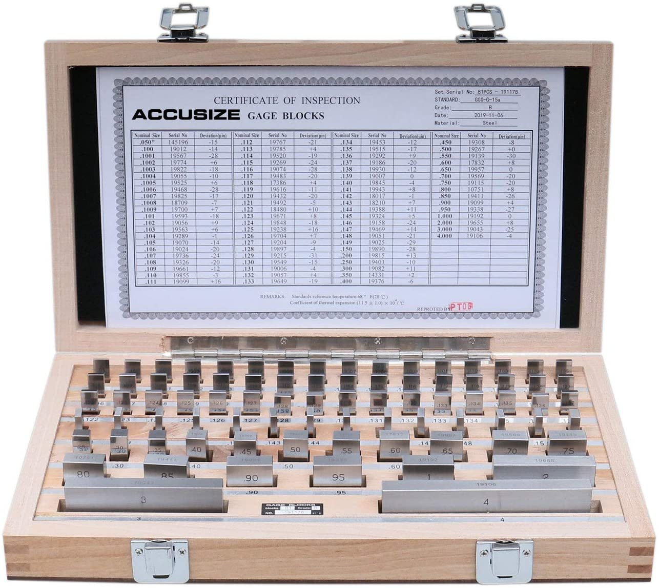 Accusize Industrial Tools 81 Pcs Steel Gauge Block Set, Grade B, P900-S581: Home Improvement