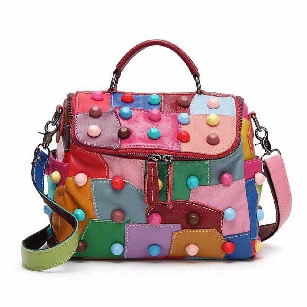 Leder Handtaschen Schaffell Postman Taschen Lässig Nähte Handtaschen Schulter Umhängetasche Groß, Damen Handtaschen, Schaffell, Vertikale Modelle, Postbote Taschen, Reißverschlüsse, Spleiße