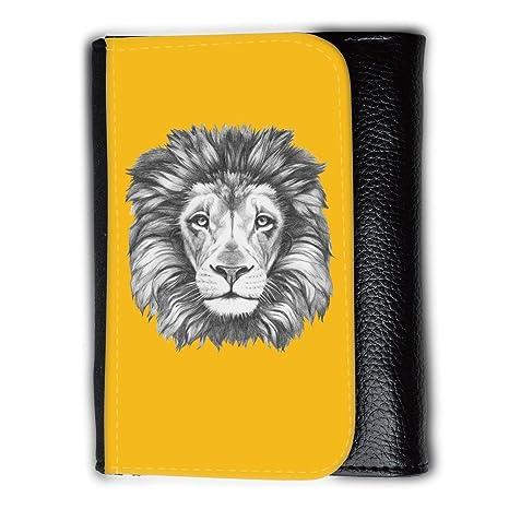 Cartera para hombre // Q05160602 Dibujo león Ámbar // Medium Size Wallet