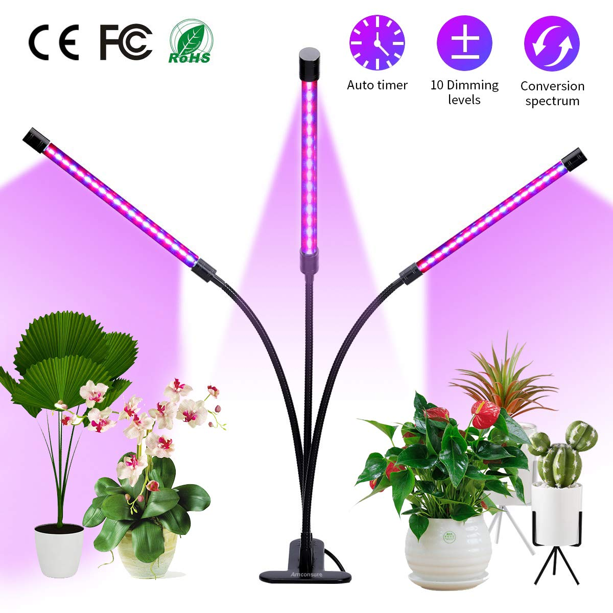 Plant Grow Light with Auto Turn On Function, 57 LED Growing Lamp with 3/9/12 Timer, High Power LED, 10 Dimmable Levels, 360°Control Adjustable Gooseneck for Hydroponics Greenhouse Gardening