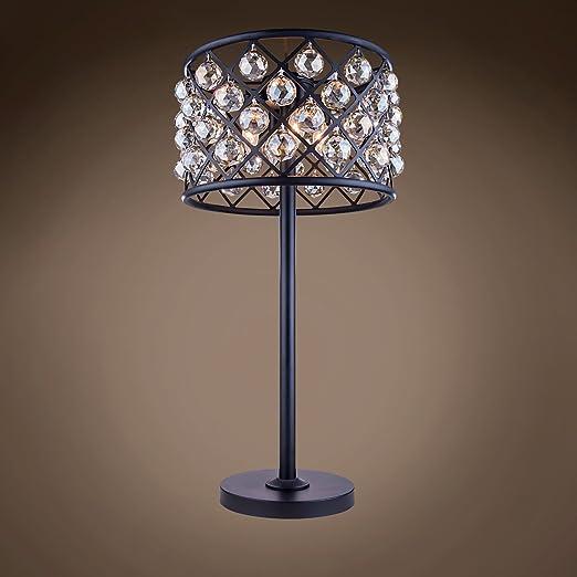 Amazon.com: Lámpara de mesa de cristal de teca de hierro ...