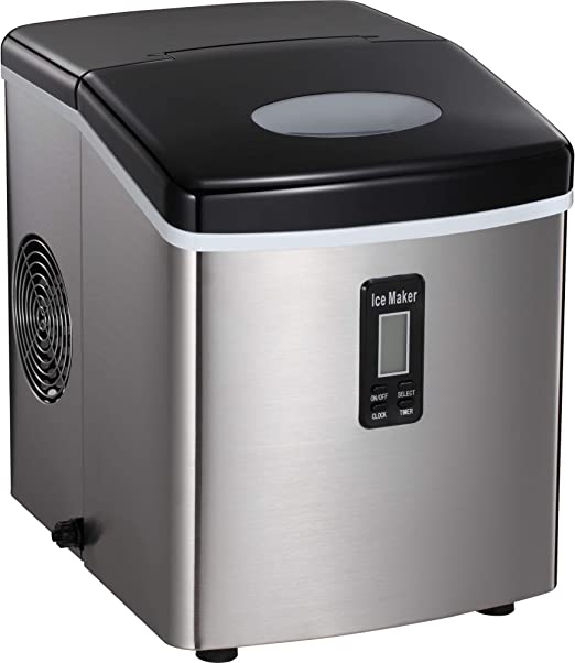 9 Ice Cubes Ready in 8 Minutes,Makes 26 lbs of Ice per 24 hours,with LCD Display Ice Scoop and Basket Perfect for Parties Mixed Drinks Silver Antartic Star Countertop Portable Ice Maker Machine